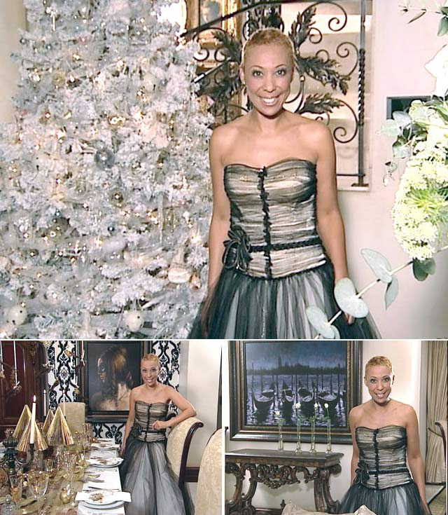 Top Billing presenter Ursula's Christmas Dress