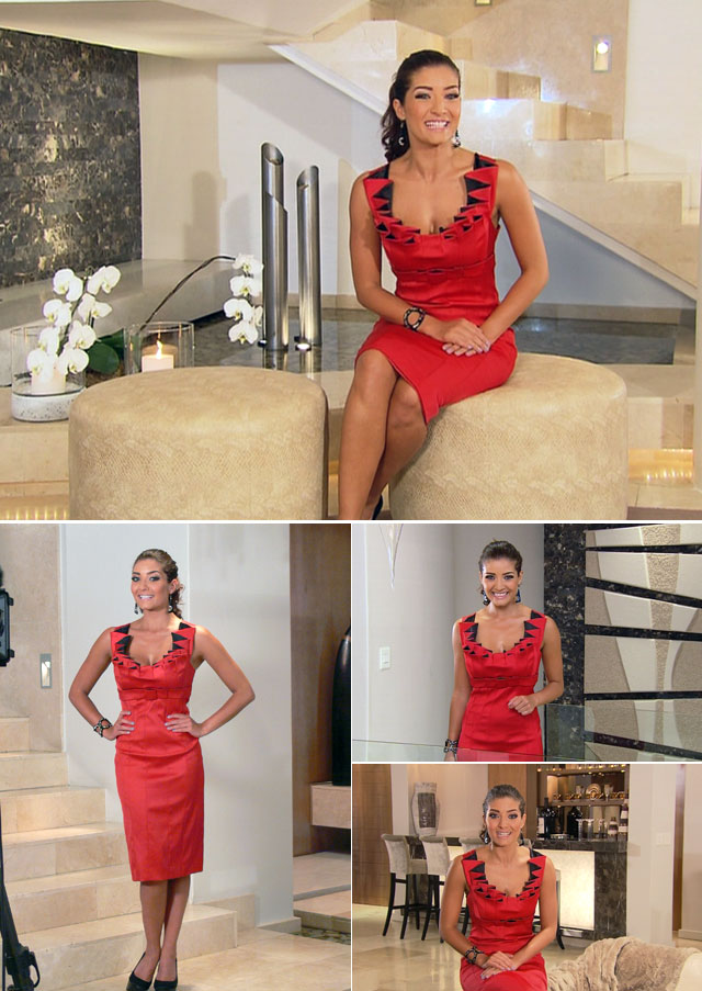 Top Billing Presenter Jeannie D wears red dress by Only One