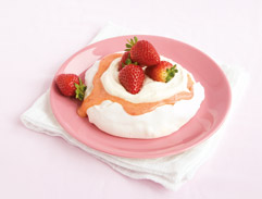 Pavlova with strawberry and rose water curd