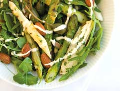 Chargrilled fennel and asparagus salad with chilli hollandaise