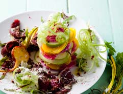 Ostrich Carpaccio with apple, candy stripe beetroot and kohlrabi salad