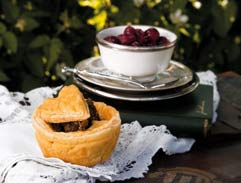 Venison Pies with Sweet Pickled Cherries