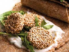 Wraps with sesame falafel and  mint yoghurt