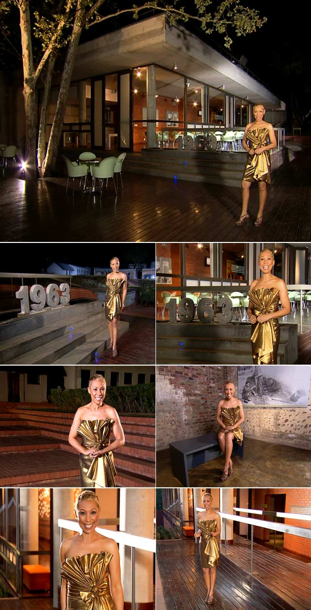 Ursula wears a glamorous gold dress by Spero Villioti and heels from Nina Roche.